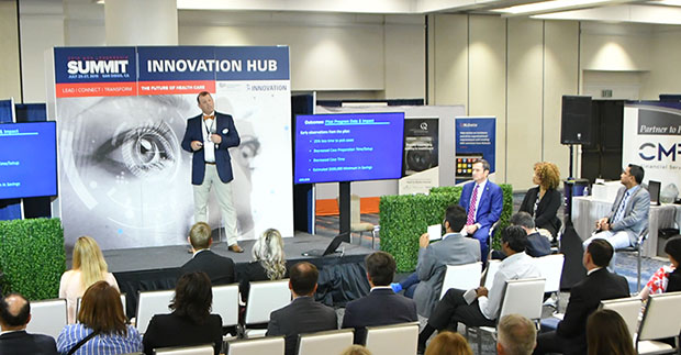 6 Promising Startups Worth Watching. A entrepreneur shares his startup story at the AHA Health Care Leadership Summit Innovation Hub stage.
