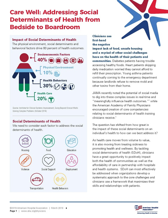 Care Well: Addressing Social Determinants of Health from Bedside to Boardroom page 1