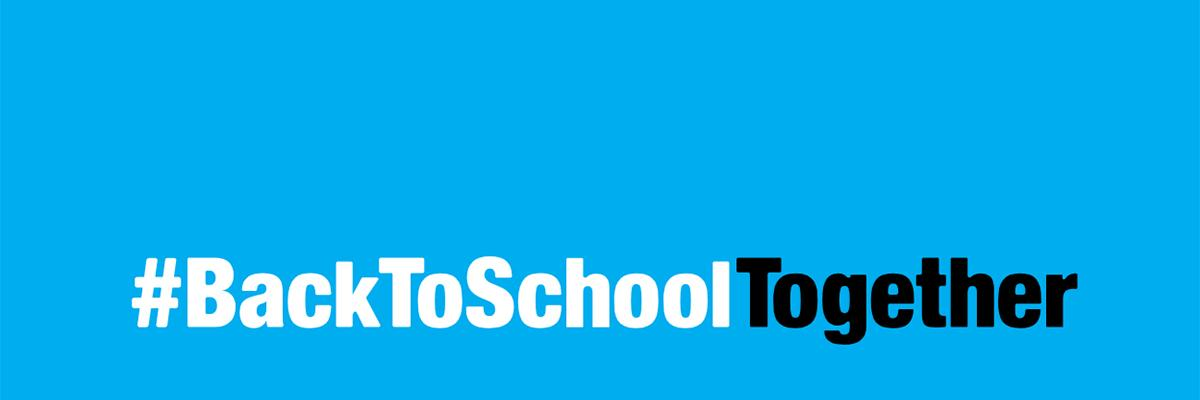 #BackToSchoolTogether hashtag on blue background
